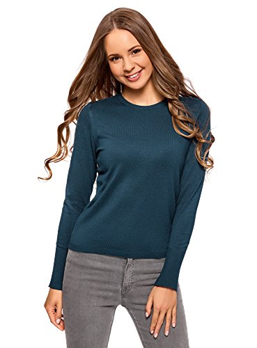 oodji Collection Women's Long Sleeve Crew Neck Pullover
