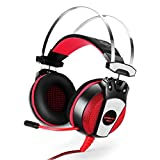 SOYY GS500 3,5 mm Stereo Gaming Headset für PS4, PC Computer Handys, Noise Cancelling über Ohr Kopfhörer mit Mikrofon, USB LED Licht, Bass Surround