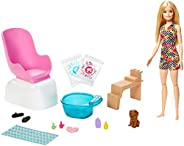 Barbie Mani-Pedi Spa Playset, Blonde Barbie Doll, Puppy, Fizzy Packs & Color-Ch