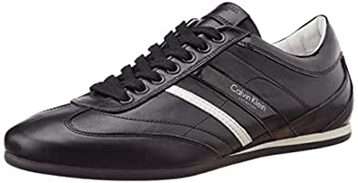Calvin Klein Men's Black Leather Sneakers - 9.5 UK