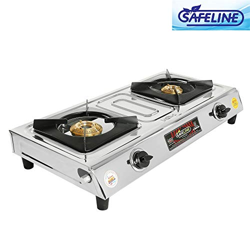 Safeline 2 Burner Stainless Steel Manual Gas Stove with 1 Year Warranty.