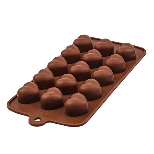 BlueFox Silikonform 15 Herzchen Praline Silikon Herz Eiswürfel Schokolade Form Süßigkeiten Deko Förmchen Bonbon Schoko Verzierung Küchenhelfer Cake-Mold Eiswürfelform Silicone, Farbe: Braun
