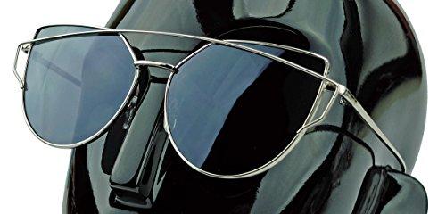Damen Sonnenbrille im Designer Look Metallrahmen flache Linsen DGM (Silber / Smoke)