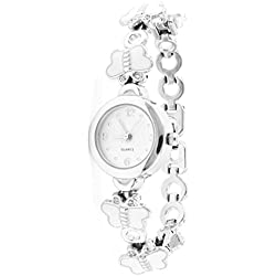 sourcingmap® Arabic Numbers Dial Butterfly White Wristband Round Case Wrist Watch for Women