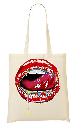 Candy Lips Tragetasche Einkaufstasche (Lip Color-sweet)