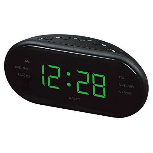220V UE Enchufe Am FM Radio de frecuencia Dual Reloj Despertador Reloj Digital LED Reloj Luminoso Reloj de Despertador Electrónico Home Snooze (Color: Verde)