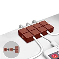 Zeltauto Cable Tidy Clip Cord Management Self-Adhesive Desktop Wire Holder for Wire, 3 Pcs (Chocolate)