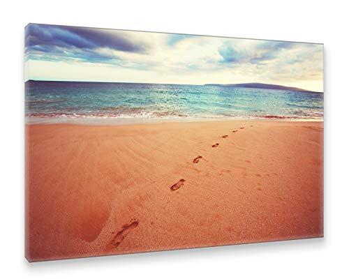 Postereck Leinwand 1376 - Fussspuren im Sand, Strand Meer Wasser Wellen Natur Größe 50,0 cm x 35,0 cm