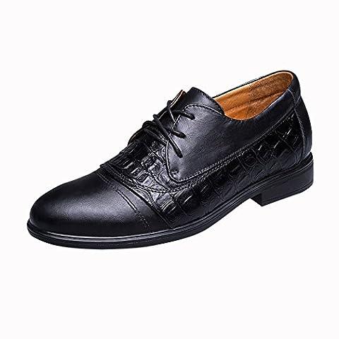 Spades & Clubs Mens Fashion Formal Genuine Leather Crocodile 2.5 Inch Hidden Heel Wedding Dress Elevator Shoes Size 7.5 UK