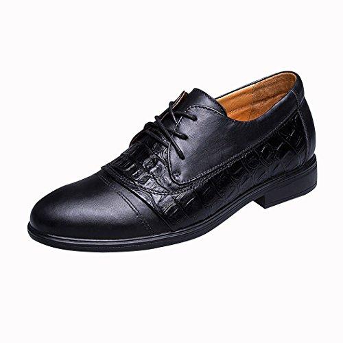 Spades & Clubs Elegante Schuhe, Herren, 6,1cm hoher versteckter Absatz, echtes Krokoleder, für Hochzeiten/ formale Anlässe, schwarz - schwarz - Größe: 38 2/3 EU (Club Strapless Womens)