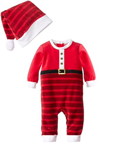 Baby Kind Boy Weihnachten Sankt Schneemann-Kostüm Weihnachten Jumpsuits Outfit + Mütze Set (95cm, Rot) (Baby Und Kinder Schneemann Kostüme)