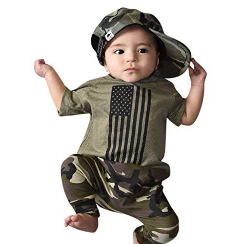 Julhold Kleinkind Kinder Baby Jungen Mädchen 4. Juli Outfits Kleidung Print T-Shirt + Hose Set Independence Day