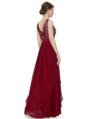 Moollyfox Robe Sans Manches En Mousseline De Soie Dentelle Élégante Femme Vin Rouge