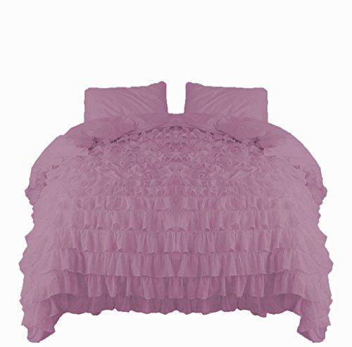 SCALABEDDING Scala Bettwäsche Wasserfall Rüschen Bettbezug und Kissenbezüge 5Teile Set 800TC ägyptische Baumwolle King Lavendel -