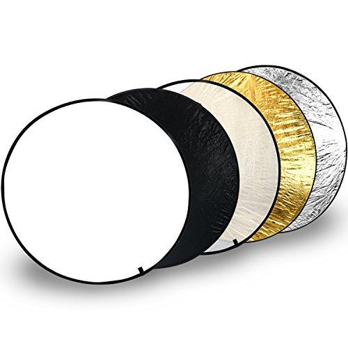 com-four® 5in1 Tragbarer Falt-Reflektor Ø 110 cm, runder Licht-Reflektor in weiß, schwarz, transparent, goldfarben, silberfarben für perfekte Foto-Ausleuchtung (3-teilig)
