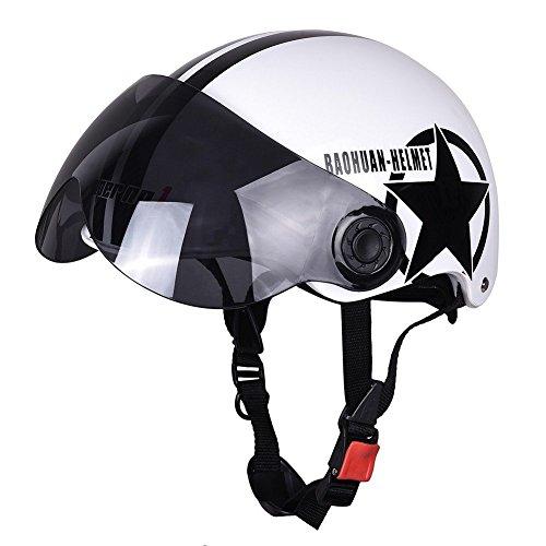 Etbotu Motorradhelm Half 3/4 mit versenkbarem Drop Down Sonnenvisier Open Face Helm