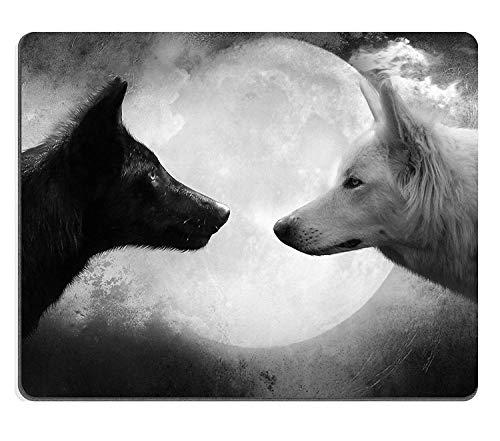 Murada Mausunterlage Naturkautschuk Mousepad Bild des Tierhundeweißporträts Pelz-Hunde- Schnee-Wolf-Ma-al-Winterhaustier Natur-wildes inländisches Pelz,Gummimatte 11,8