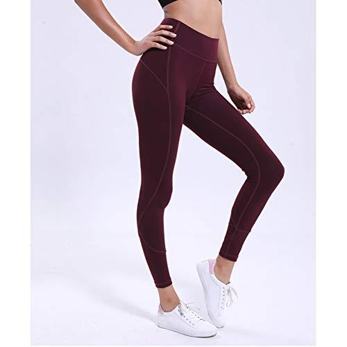 WZXY Gym Fitness Leggings Frauen High Rise Yogahosen Sport Laufhose Super Soft Workout Jogger,Red,XL