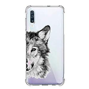 Oihxse Funda Compatible para Huawei Honor 8A Ultra Delgada Ligera Transparente Silicona TPU Gel Suave Carcasa Elegante Patrón Lindo Bumper Anti-Rasguño Protector Caso Case (Cabeza de Lobo) 13