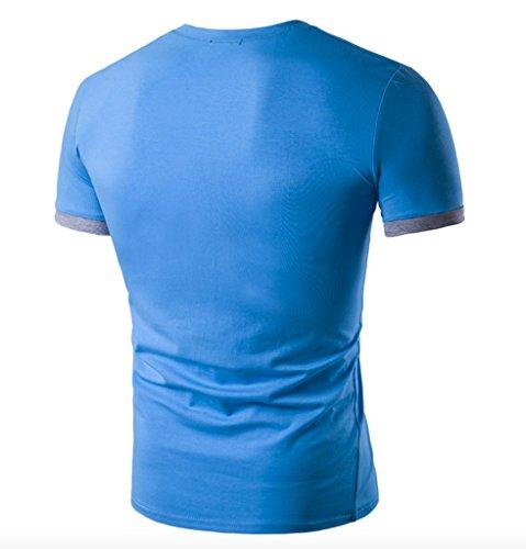 WSLCN Herren Schick Kontrastfarbe 2 in 1 T-shirt Polo Shirt Slim Fit Kurzarm Blau