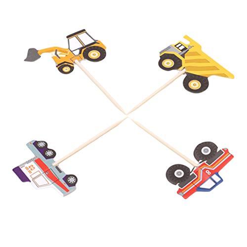 Kyoidy 24 Teile/Satz LKW Traktor Bagger Dumper Auto Cupcake Dekorative Cupcake Topper für Kinder Party, Party Pick Kuchen Dekorationen