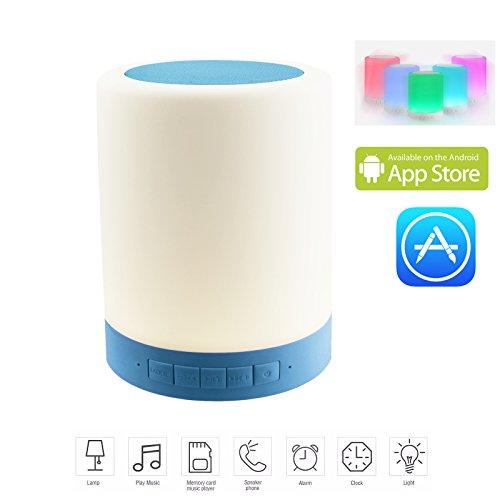HFTEK® FY689 Dimmbar Bluetooth Lautsprecher RGB LED Nachtlicht Lampe Tragbares Licht Farbwechsel Multi Funktion Musik Sound Box Touch Control und smartphone App TF Karte Freisprecheinrichtung (Blau) (Multi-funktion-laptop-tisch)
