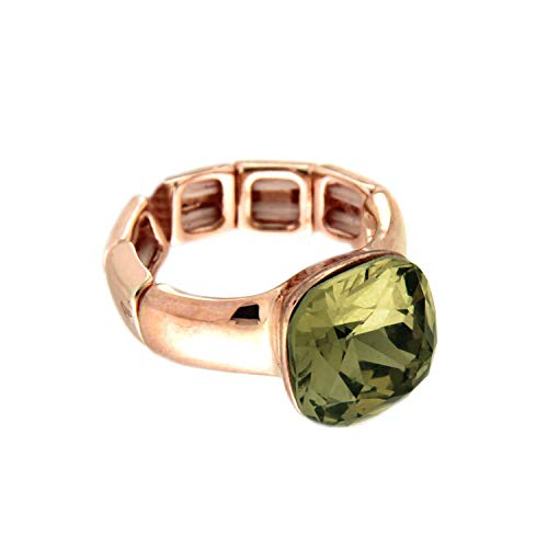 Schmuck Kostüm Engagement Ringe - Sweet Deluxe Stretchring Diva, Rosegold/cryst.Luminous grün I Damen-Ring I Mode-Schmuck Ring für Frauen I Ringe Rings für Mädchen I modisches Design-Accessoires