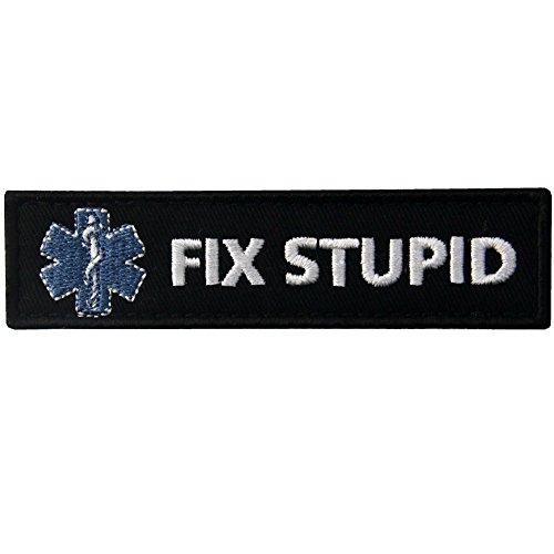 Biker Kostüm Zubehör Girl - Fix Stupid Funny Biker Patch Bestickt Moral Aufnäher Army Moral Haken & Schleife Emblem