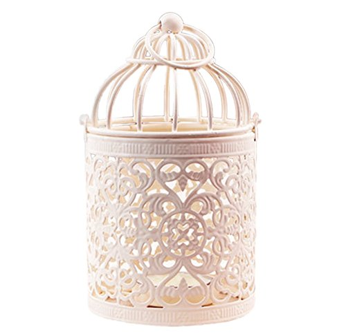 LAAT - metal candle holder - birdcage shaped lantern - tealight - creative candle holder - romantic hanging lantern for the home or decoration for a wedding or a party, Style 2, 8X8X14CM
