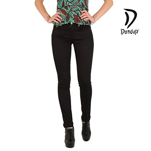 Dondup Monroe pantaloni donna cinque tasche tinta unita DS140D (26, NERO)