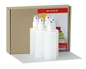 5 x 100 ml Octopus Sprühflaschen mit Fingerzerstäuber, Plastikflaschen mit Pumpsprüher, Kunststoffflaschen aus HDPE mit Zerstäuber, inkl. 5 Beschriftungsetiketten