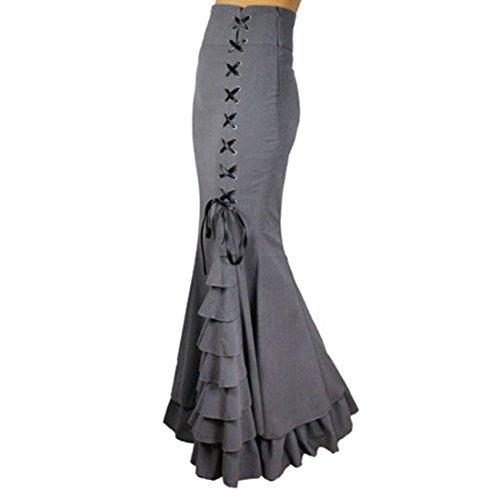 z und Grau Viktoria Gothic Ruffle Steampunk Dunkler Wind Vintage Stil Skirt Unregelmaessig Gefalteter Lolita Rock,L,Grey (Halloween Unterschiedliche Namen)