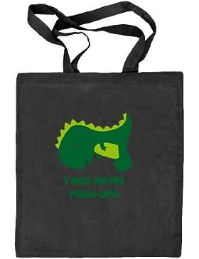 Shirtstreet24, T-Rex Hates Push-Ups,Dino Natur Stoffbeutel Jute Tasche (ONE SIZE)