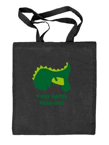 Shirtstreet24, T-rex Odia Flessioni, Borsa In Juta Di Tessuto Naturale Dino (taglia Unica) Nero Natura