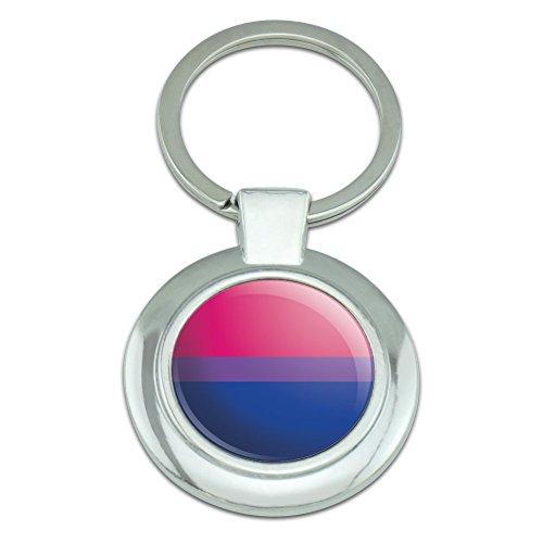 Graphics and More Bi bisexualität Pride Flagge pink violett blau Classy Round verchromt Metall Schlüsselanhänger