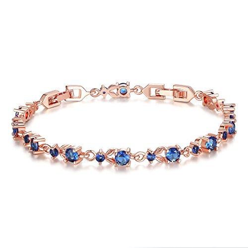 Wostu Luxus Schlanke Rose Gold überzogenes Armband mit blau glitzernde Zirkonia-Steine für Frauen Mädchen