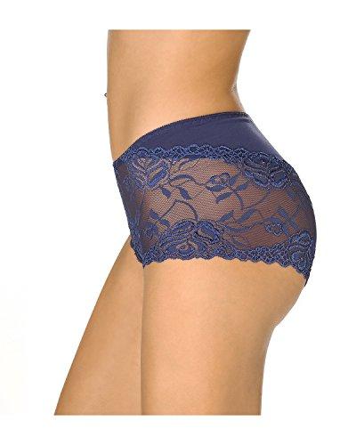 KissLace Damen Spitze Panty Mittlere Taile Große Größen Unsichtbare Dehnbare Bequeme Unterhose Hipsters Dunkel Blau