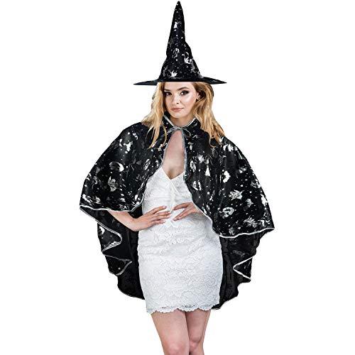 HOMELEX Hexenumhang Halloween Cape und Hut Kostüm - Hut Und Cape Kostüm