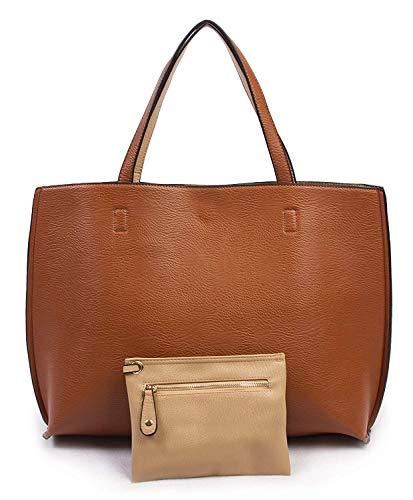 Overbrooke wendbare Handtasche - Veganes Leder Damen Schultertasche mit Armband 2016, Beige (Tan/Cream), Large (Satchel Handtasche Tan)