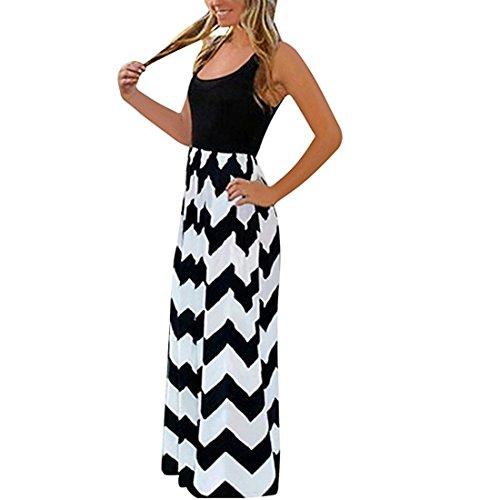 Damen Sommerkleid Lang Maxikleid Strandkleider Partykleid Maxi Kleider mit Streifen (Schwarz, S)