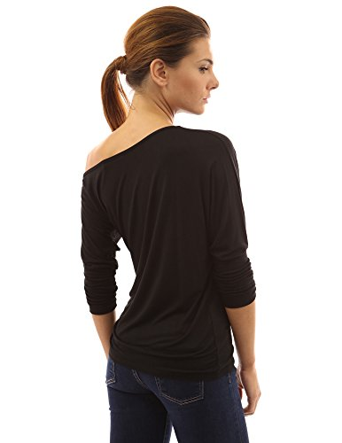 PattyBoutik Donne una spalla superiore maglia increspato pipistrello (Nero 40)
