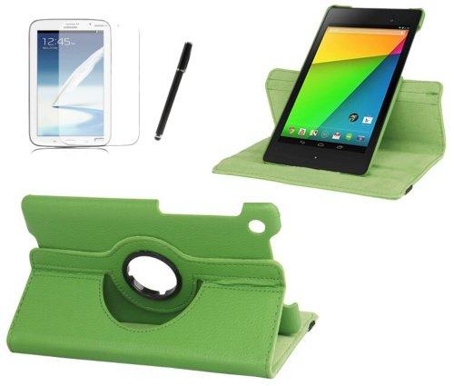gada - Asus Google Nexus 7 (2013) 2 II PREMIUM 360° drehbare Leder-Imitat tasche mit praktischer Standfunktion in lila / violett inkl. kostenloser Displayfolie und Touch Pen (Nexus 7 2013 Tasche Aus Echtem Leder)