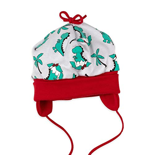 Baby Sweets Baby Mütze Jungen grau rot grün   Motiv: Babydino   Babymütze zum Binden für Neugeborene & Kleinkinder   Größe: 9 Monate (74)