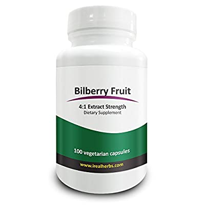 Real Herbs Bilberry Fruit Extract 4:1 375mg - Antioxidant-Rich, Promotes Blood Circulation & Vision, Improves Cardiovascular Health - 100 Vegetarian Capsules from Real Herbs