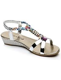 Amlaiworld Sandales Femmes, Été Sandales Strass Sandales Plates Femmes  Sandales Casual Mode Chaussures de Plage 6cbed7db9a59