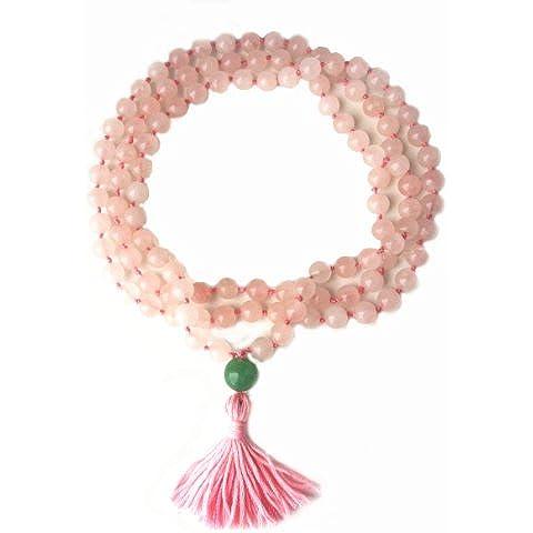 Collana per preghiera Mala con 108 grani, perle in quarzo rosa infilate a mano - Quarzo Rosa Cuore