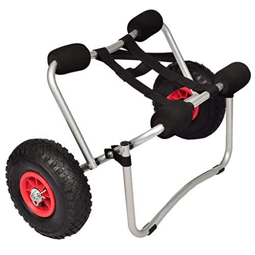 Con este carrito de kayak, puede colocar sin esfuerzo un kayak o una canoa en la plataforma del carrito, sujetarla y listo. El soporte con resorte mantiene el carro de la plataforma apuntalado en tierra para una carga rápida fuera del agua. Este carr...