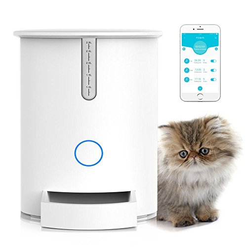 Automatic Pet Feeder, Programmable Smart Food Dispenser for Cats. Compatible with iOS and Android. (Pet Food Dispenser Timer)