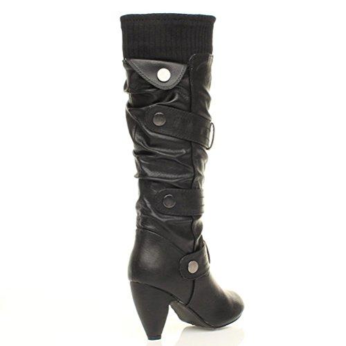 Femmes talon haut col tricoté lanières hauteur du genou mollet bottes pointure Noir