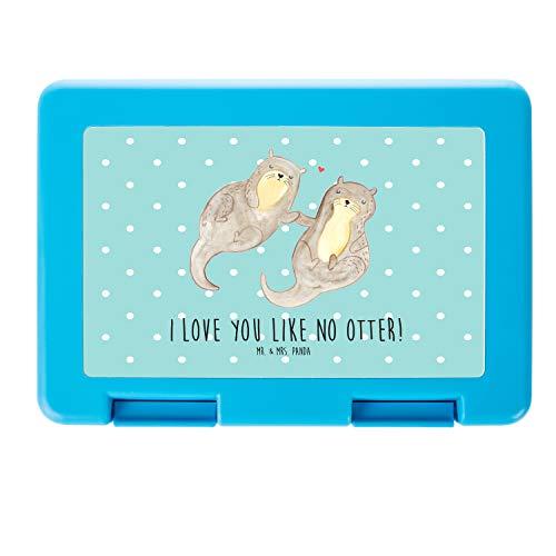 Mr. & Mrs. Panda Snackbox, Vesperdose, Brotdose Otter händchenhaltend mit Spruch - Farbe Türkis Pastell